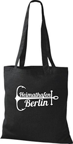 ShirtInStyle Stoffbeutel Baumwolltasche Heimathafen Berlin schwarz