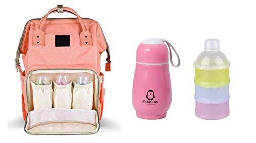 Perfect Pricee Baby Mummy Backpack Travel Maternity Diaper Bag with 1Pc Thermos Bottle Stainless Steel Vaccum Mug for Kids with 3 Layer Portable Baby Food Storage Container (Peach)