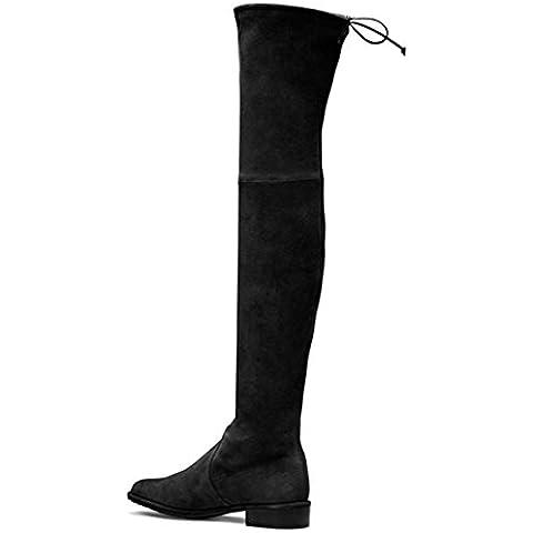 Camoscio Stretch ginocchio piatto confortevoli Stivali nero donna , black
