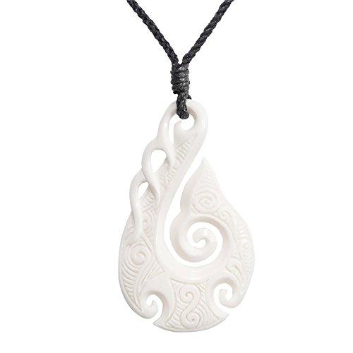 81stgeneration Frauen Männer Hand Geschnitzte Knochen Maori HEI Matau Koru Spiral Anhänger Halskette -