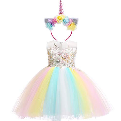 Unicornio Vestido Princesa Flor Partido Disfraces