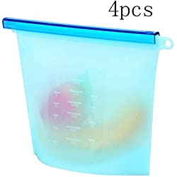 Boîte de rangement pour articles de cuisine Sacs réutilisables de stockage de la nourriture du silicone 4pcs - gardez la nourriture et les casse-croûte frais Boîte de rangement pour articles de cuisin