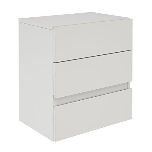 CARO-Möbel Nachtkommode Anno Wandregal Nachtschrank hängend mit 3 Schubladen in weiß