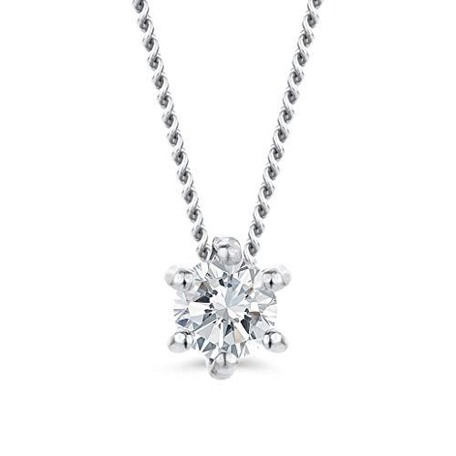 Orovi Damen Diamant Kette Weißgold, Halskette mit Solitär Diamant Anhänger 9 Karat (375) Gold und Diamant Brillanten 0.12 Ct, 45 cm lang Halskette Handgemacht in Italien