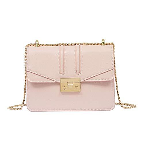 DHINGM Goldkette kleine quadratische Tasche Damen Umhängetasche, Fashion Square Bag, Caviar Diagonal Bag, PU Damen Messenger Bag, leicht, weich, stilvoll, schön, praktisch, Lange Lebensdauer (22 * 16