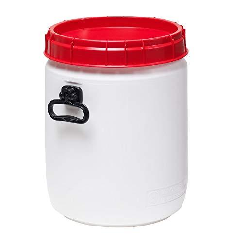 Curtec HDPE Superweithalsfass, 34 Liter, mit beidseitigen Handgriffen, XL-Einfüllöffnung, mit roten Schraubdeckel, stapelbar, wasserdicht, naturweiß