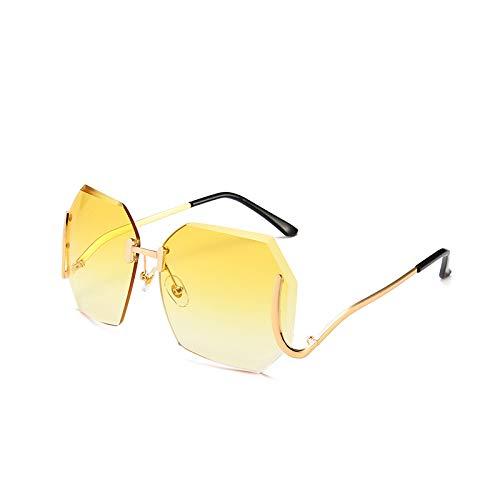 Yangjing-hl Mode Sonnenbrillen Farbe Marine rahmenlose Linse weiblichen Trend Sonnenbrille Metallrahmen unregelmäßige Linse Goldrahmen gelben Film