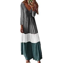 Vestidos Largos Casual Talla Grandes EUZeo Vestidos de Playa Boho Elegantes Otoño Vestidos Manga Corta con Cuello en V Fiesta Ropa Hippie Chic Cocktail Sexy Midi Dresses