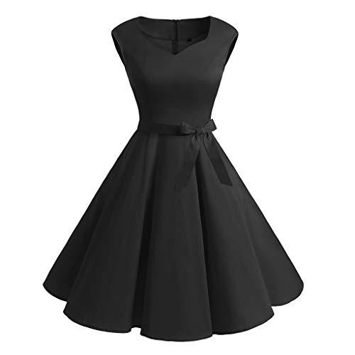 LEXUPE-Robe Vintage sans Manches pour Femme à la Mode et Longue Robe de Bal rétro Printemps-été(Noir,X-Large,Polyester)