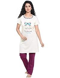13b91dcbfc3 Boring Dress Women's Hosiery Cotton Knitted Long Kurti Top and Pajama Set/Night  Suit for