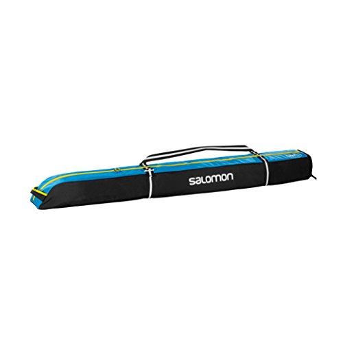 Salomon, Erweiterbarer Skisack für 1 Paar Ski (165-185 cm), EXTEND 1P 165+20 SKIBAG, Schwarz/Blau (Black/Process Blue/Corona), L38259300 -