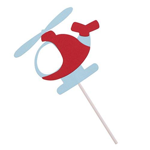 MagiDeal 10Stück / set Cake Topper, Hubschrauber Form, Tortenstecker, Tortenfigur Geburtstags Baby Taufe Party Dekor - Rot Blau, 7,5 x 10 cm (Hubschrauber-party-dekor)