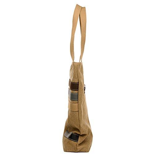 Young & Ming - Doona Handbag Borsa a mano Tela colore Strap Decorazione Shoulder bag Fashion Borsa a spalla per il lavoro / scuola / viaggi cachi