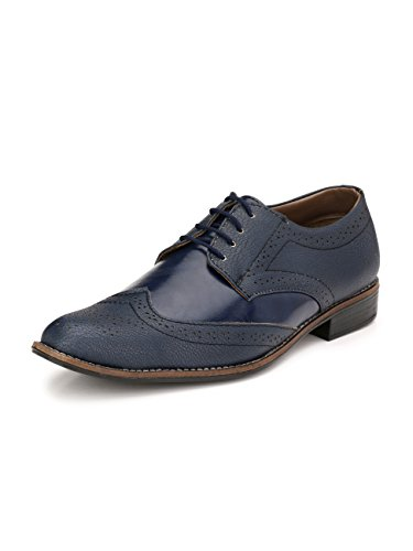 Sir Corbett Men's Synthetic Blue Oxford Formal Shoes (8, Blue)