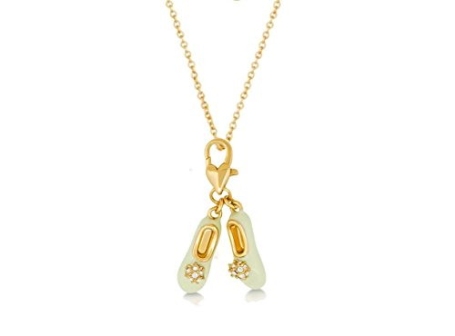 Disney Couture-14kt placcato oro Peter Pan Tinkerbell Pantofole Ciondolo e Collana