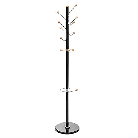 Songmics Coat Tree Rack Hat Stand Aluminium Frame 12 Hooks for Clothes Handbag Umbrella with Marble Base 178 cm Black RCR30B