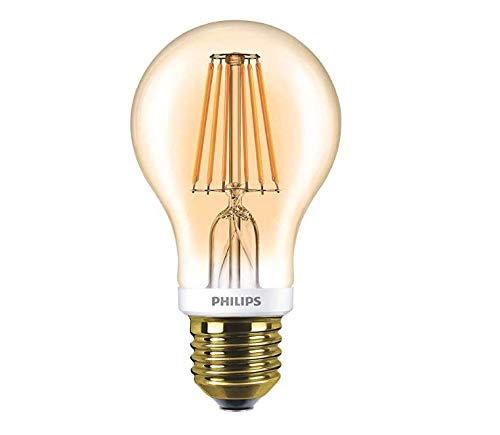 Philips LED Filament, Vintage-Leuchtmittel Classic, dimmbar, gold, A60, glas, farblos, E27, 7.5W 240V
