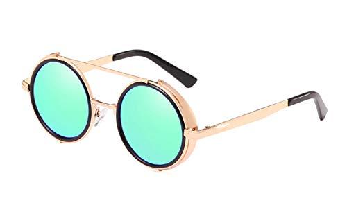 HUWAIYUNDONG Sonnenbrillen,Round Shade Steampunk Sonnenbrille Männer Frauen Fashion Design Brillen Retro Brillen Uv400 Gold Schwarz W Blau