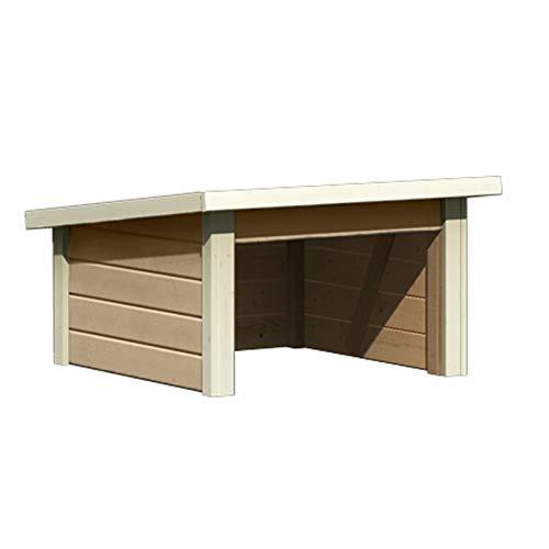 HORI® Garage für Mähroboter I Rasenmäher Garage/Carport aus Holz I sandbeige