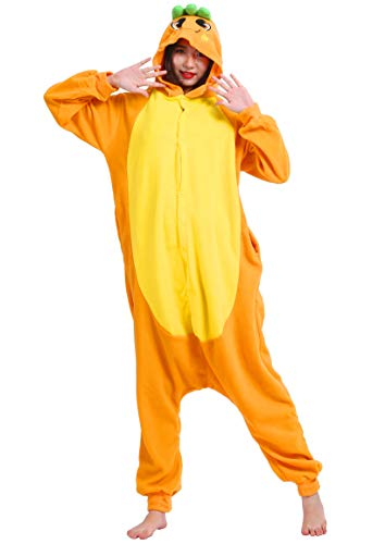 ULEEMARK Jumpsuit Onesie Tier Karton Fasching Halloween Kostüm Sleepsuit Cosplay Overall Pyjama Schlafanzug Erwachsene Unisex Lounge Kigurumi Karotte for Höhe ()