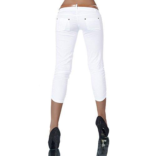 H968 Damen Chino Hose Stoffhose Capri Bermuda Sommerhose Boyfriend Shorts Gürtel Weiß