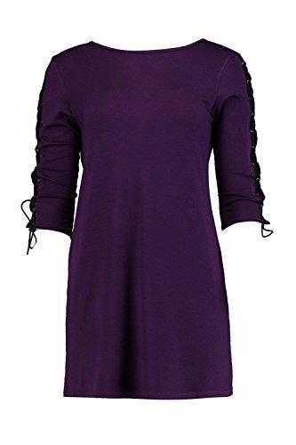 Violet Femmes Rachel Robe Droite Avec Détail À Lacets Aux Bras Violet