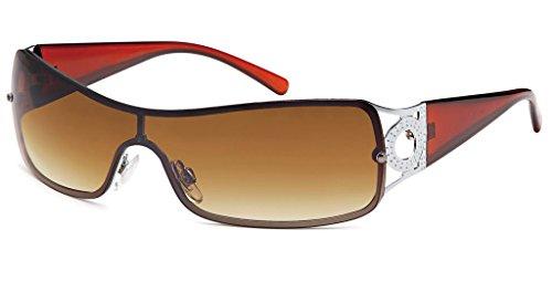 UVprotect® leichte schmale Damen Monoglas sportlicher Style Sonnenbrille braun W70-1