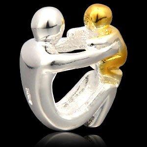 Charm raffigurante genitore e figlio o figlia, in argento sterling 925, placcato in oro, per bracciali di tipo europeo