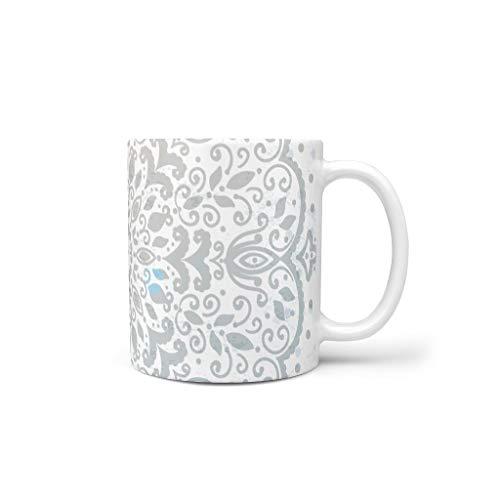 O6HuH&8 11 Unze Graue Mandala Mischen Müsli Becher Tasse mit Griff Glatte Keramik Fun Becher - Ethnischer Stil Weihnachten Geschenke, für Wohnheim verwenden White 330ml