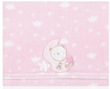 Pirulos Sabanas Invierno Microlina Minicuna 50x80 oso luna - rosa