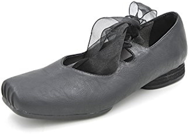 Lag de verano en zapatos de ballet chica elegante plano de luz con un color sólido, la cinta de opciones, el negro,36