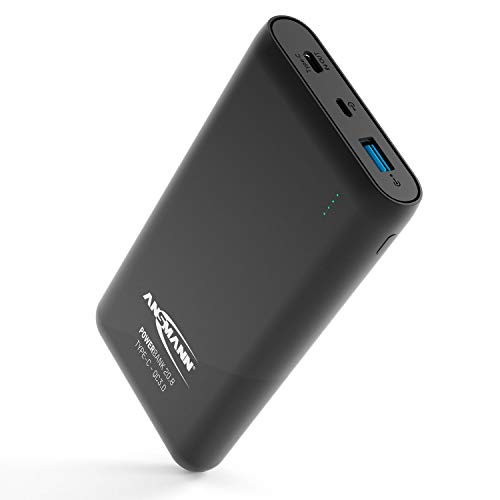 Ansmann Powerbank Quickcharge 3.0 TÜV geprüft 20000 mAh & 3A Ausgang - Fast Charge Power Bank mit USB & Typ C Port - Ladegerät mit LED Anzeige für alle Smartphone Handy Tablet UVM - Externer Akku