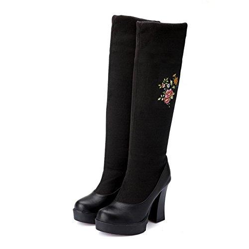 AgooLar Damen Blend-Materialien Ziehen Auf Rund Zehe Hoher Absatz Stiefel Schwarz