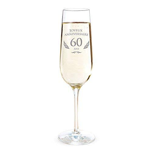 AMAVEL - Flûte de Champagne avec Gravure pour Les 60 Ans - Cadeau d'anniversaire pour Hommes et Femmes - Idée Cadeau pour Femmes - Verre à Champagne et vin Mousseux - Flûte de Champagne - Standard