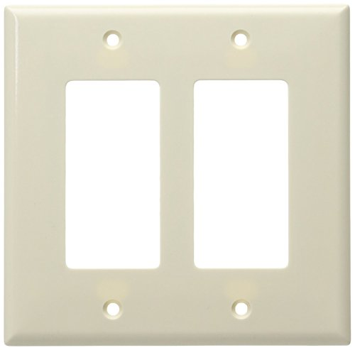 Eaton 2052LA Mid-Size 2-Gang Decorator GFCI Wall Plate with Box, Light Almond Finish by - Plate Light Almond Wall