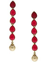 Anuradha Art Red Colour Styled With Pearl Beads Droplet Fancy Party Wear Designer Long Earrings For Women/Girls