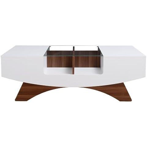 Tavolino Bianco Inserto in Vetro