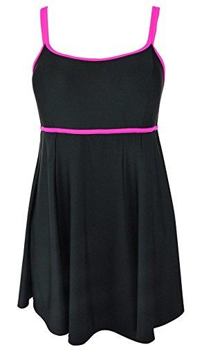 Aidonger Femme Maillot de Bain 1 Pièce Bikini avec Jupette Amincissant EU42-EU50 (50= EU48, noir et rose)