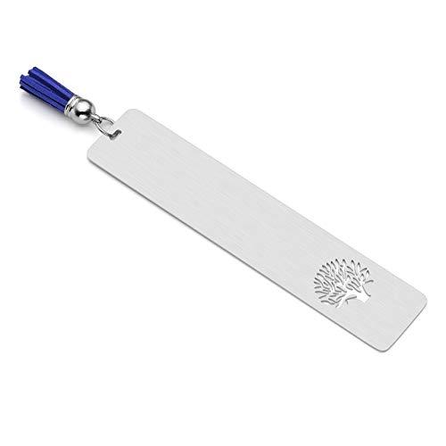 PiercingJ, segnalibri personalizzati, in acciaio inox, 30 x 140 mm, motivo: albero della vita, targhetta con nappa blu, segnapagina, segnalibri e vermi, cancelleria regalo Non Engraving