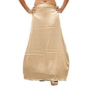 S.K. Textiles Women's Satin Cancan 3 Layered Petticoat (Beige,42)