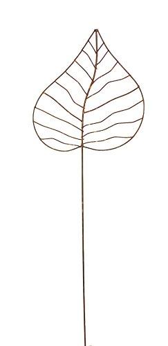 Gartenstecker Edelrost - Herzblatt mittel - Rankhilfe Gartendeko Höhe 115 cm