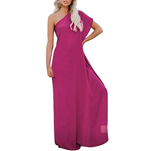 Lange Göttin Kleid (Bibao Frauen Göttin Brautjungfer Abend ein kalter Lotus Schulter Hoch Split Party Kleid Ball Ball Lang Swing Kleid L hot pink)