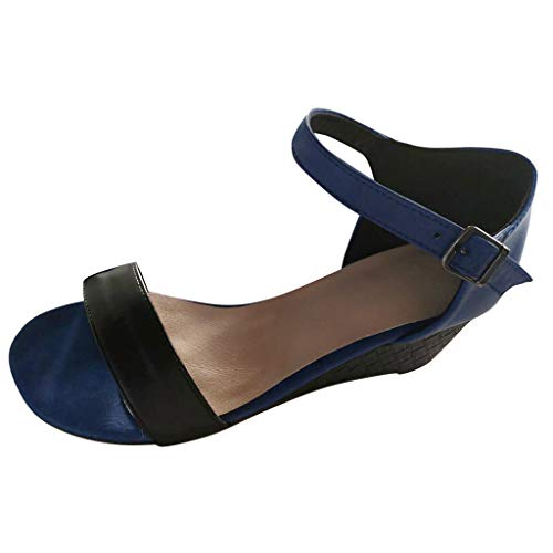 UINGKID Sandalen Damen Frauen Sommer Open-Toe Wedges Schuhe Knöchelriemen Gürtelschnalle - Kelly Schuhe Kostüm