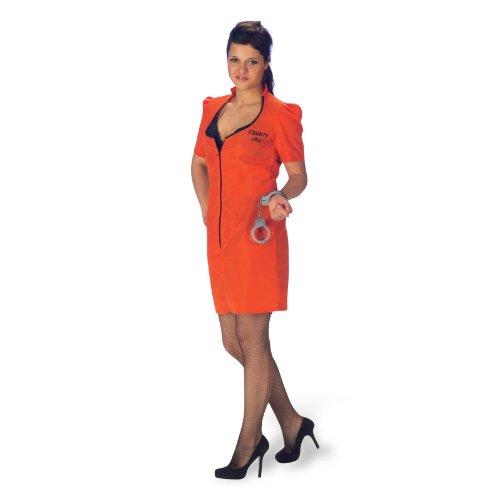 Kleid, knapp, feuerrot für Karneval und Mottoparty - 44/46 (Häftling Kleid)