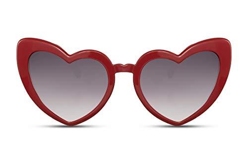 Cheapass Sonnenbrille Herz-Förmig Rot Cat-Eye Katzenauge UV-400 Festival-Brille Plastik Damen Frauen