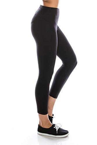 BaumwollSpandex Grund Knit Jersey Capri Leggings für Frauen-Schwarz-M (Vielseitige Stricken Leggings)