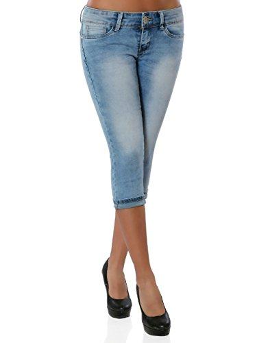 Damen Jeans Kurze Sommer Hose Bermuda Push-Up No 15908 Blau M / 38