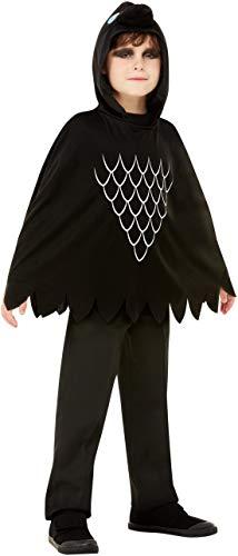 oy Kinder Scary Crow Krähen Raben Kostüm, Kapuzen Poncho, perfekt für Halloween Karneval und Fasching, 104-128, Schwarz ()