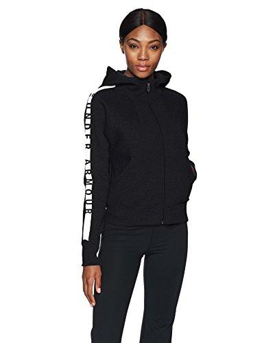 Under Armour Damen Cotton Ridge Fleece Full Zip, Damen, Black (001)/White, Medium - Damen Gebürsteter Fleece