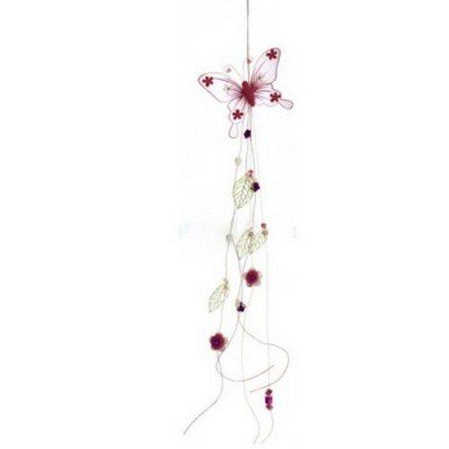Au plaisr des yeux - Guirlande suspension papillon fleurs et perles bordeaux
